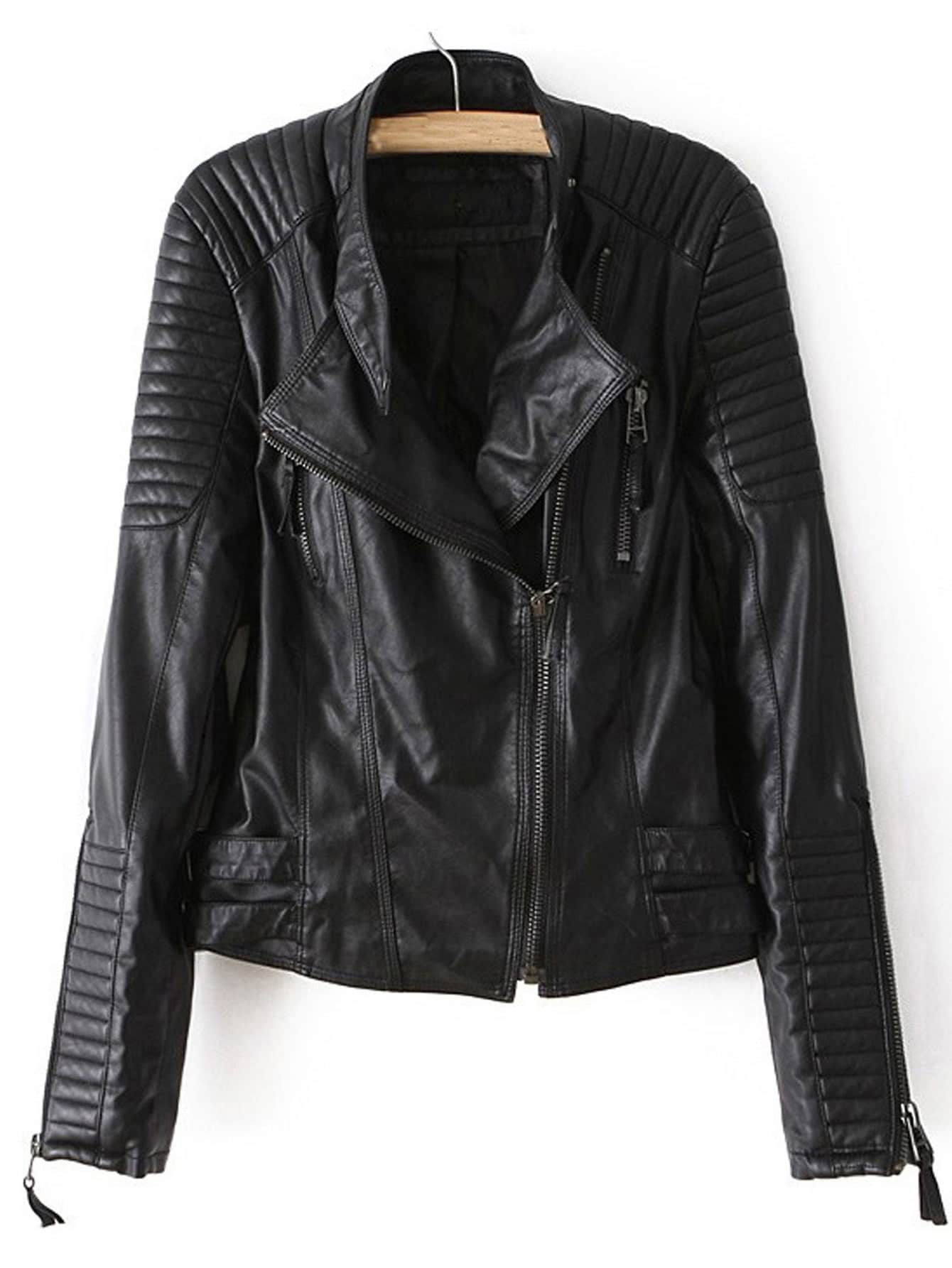 Black Long Sleeve Zipper PU Leather Jacket -SheIn(Sheinside)