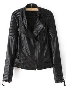 Quilted Sleeve Zipper PU Jacket -SheIn(Sheinside)