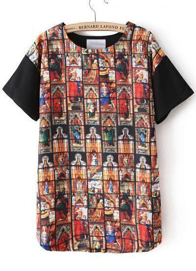 Black Short Sleeve Thailand Print T-Shirt