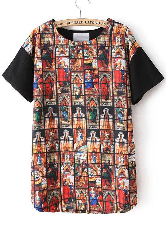 Black short sleeve thailand print t shirt shein sheinside for T shirt printing thailand