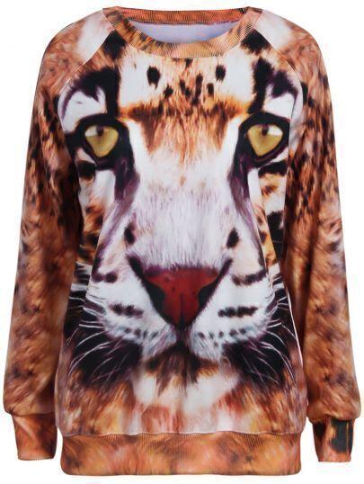 Yellow Long Sleeve Tiger Face Print Sweatshirt