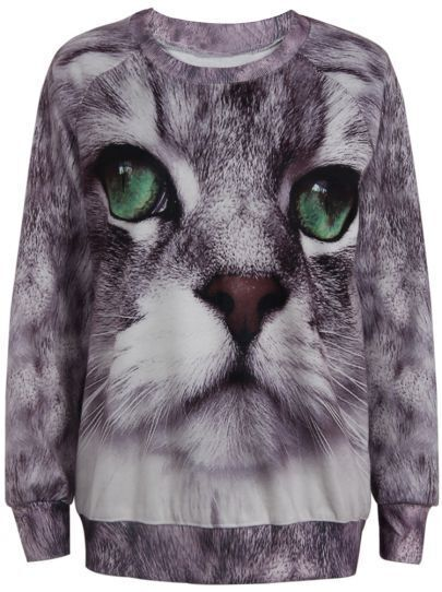 Purple Long Sleeve Cat Face Print Sweatshirt