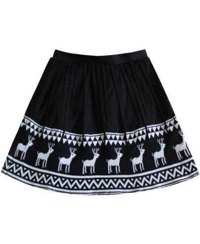 Black White Deers Knitting Pleated Skirt