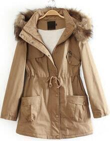 Khaki Detachable Fur Trimmed Hood Lined Parka