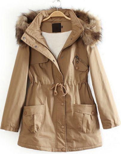 Khaki Detachable Fur Trimmed Hood Lined Parka
