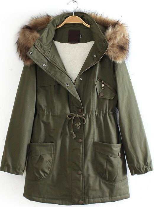 Army Green Detachable Fur Trimmed Hood Lined Parka -SheIn(Sheinside)