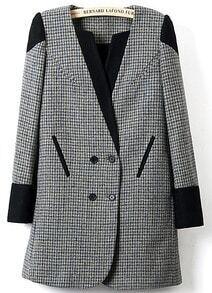 Black V-neck Contrast Cuffs Houndstooth Print Coat
