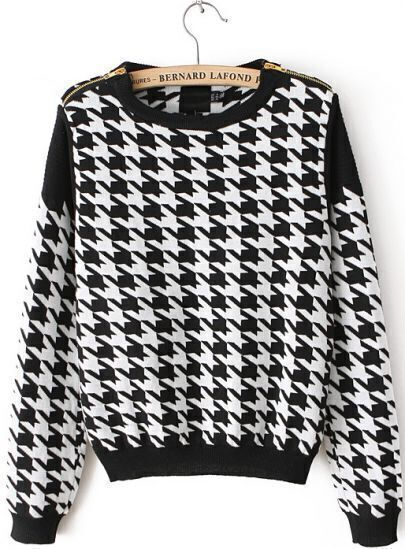 Black and White Houndstooth Print Ribbed Crop Sweater