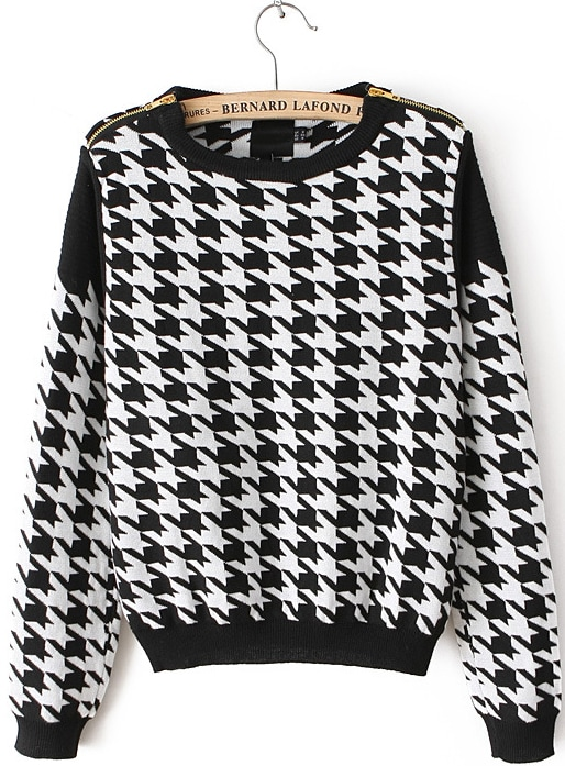 Black and White Houndstooth Print Ribbed Crop Sweater -SheIn(Sheinside)