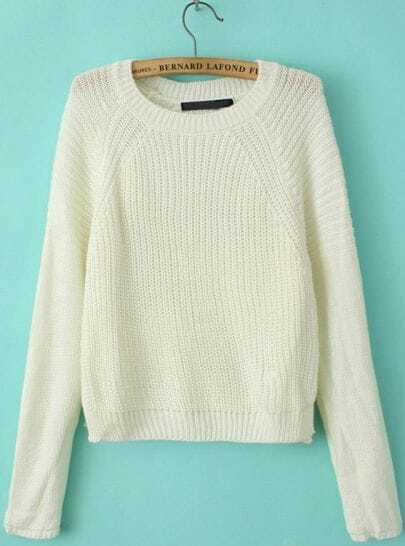 White Raglan Sleeve Round Neck Crop Sweater
