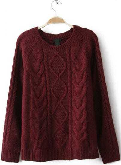 Wine Red Diamond Cable Knitting Long Sleeve Sweater