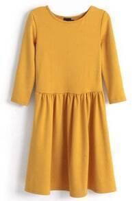 Yellow Three Quarter Length Sleeve Gathered Pleats Dress