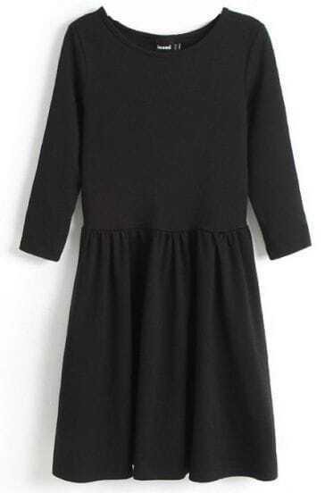 Black Three Quarter Length Sleeve Gathered Pleats Dress