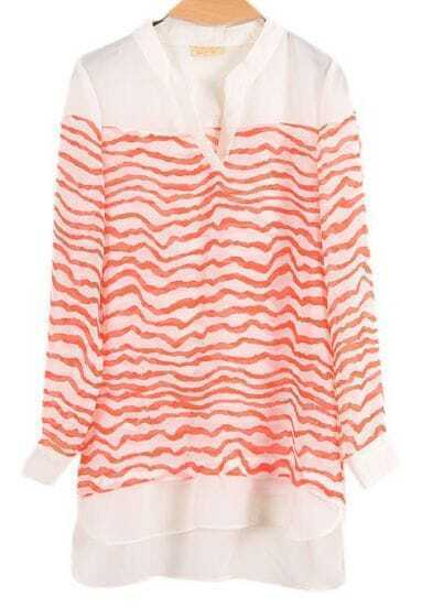 Red Striped Long Sleeve V-neck Chiffon Blouse