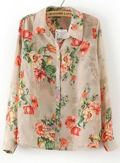 Khaiki Long Sleeve Florals Print Lapel Blouse