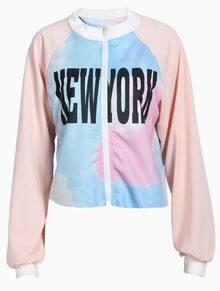 Light Pink Long Sleeve NEW YORK Print Crop Jacket