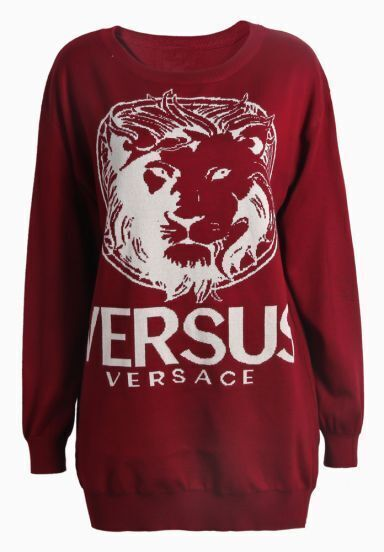 Red Long Sleeve Lion VERSUS Print Pullover
