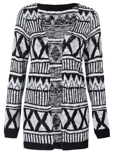Black Long Sleeve Geometric Pattern Longline Cardigan