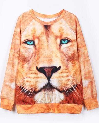Yellow Long Sleeve Lion Face Print Sweatshirt