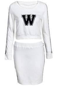 White Long Sleeve W Print Crop Top With Skirt