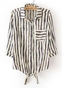 Black White Vertical Stripe Lapel Bow Blouse