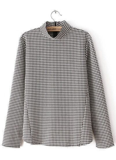 Black White Stand Collar Houndstooth Blouse