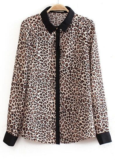 Leopard Lapel Long Sleeve Slim Blouse
