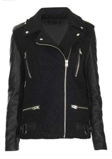 Black Contrast Leather Long Sleeve Zipper Jacket