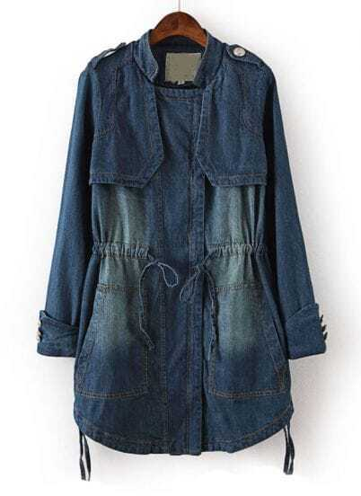 Blue Long Sleeve Bleached Drawstring Denim Outerwear