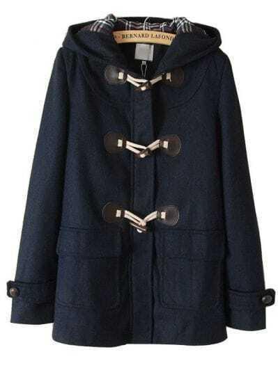 Navy Hooded Long Sleeve Horn Button Coat