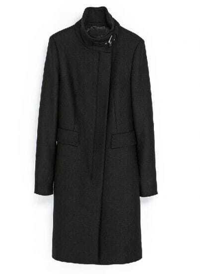Black Stand Collar Long Sleeve Woolen Coat