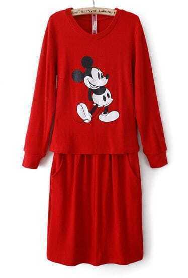 Red Long Sleeve Mickey Print Top With Skirt