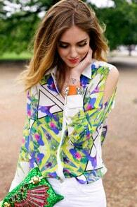 White Long Sleeve Cut Out Shoulder Geometric Print Blouse