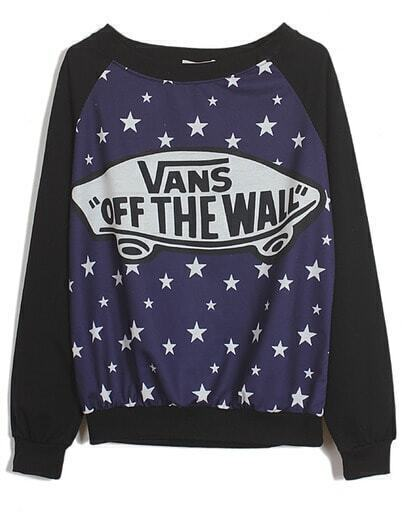 Black Blue Long Sleeve Stars Skateboard Print Sweatshirt