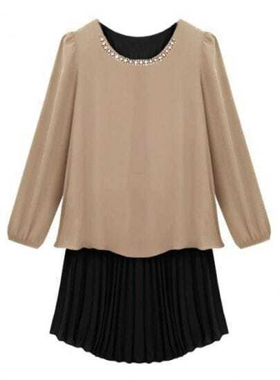 Khaki Long Sleeve Contrast Pleated Chiffon Dress