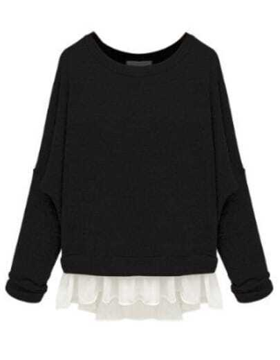 Black Batwing Long Sleeve Contrast Chiffon Knit Sweater