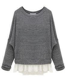 Grey Batwing Long Sleeve Contrast Chiffon Knit Sweater