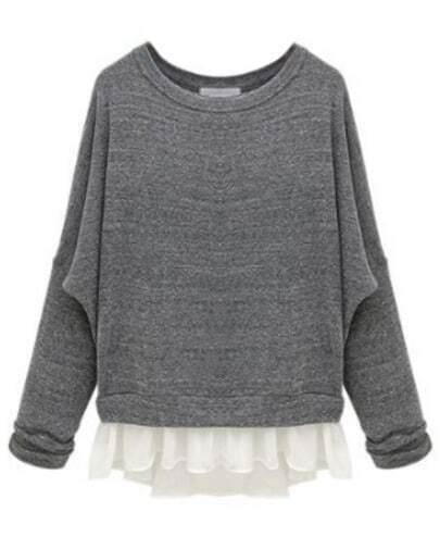 Grey Batwing Long Sleeve Contrast Chiffon Knit Sweater