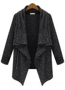 Black Long Sleeve Zipper Trench Coat