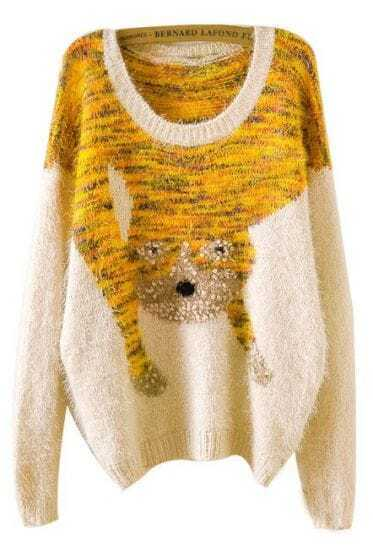 Apricot Long Sleeve Cat Pattern Mohair Sweater