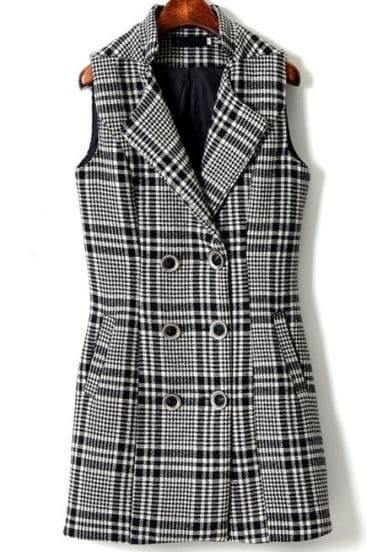 Black White Plaid Sleeveless Double Breasted Vest