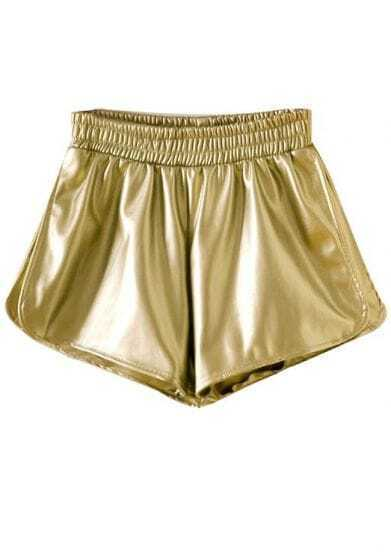 Gold Elastic Waist Split PU Leather Shorts