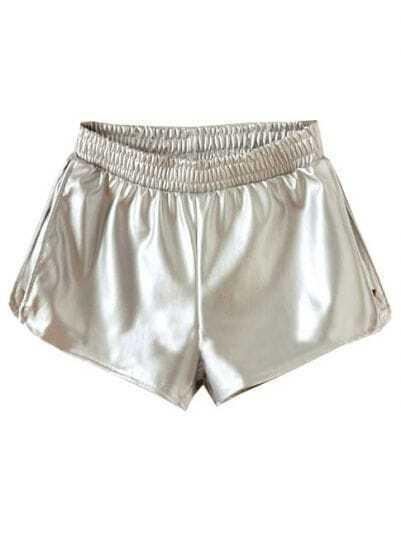 Silver Elastic Waist Split PU Leather Shorts