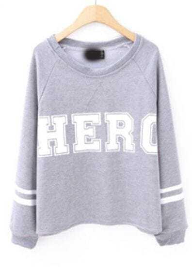 Grey Long Sleeve HERO Print Loose Sweatshirt