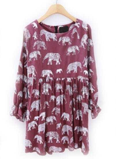 Wine Red Long Sleeve Elephant Print Pleated Dress