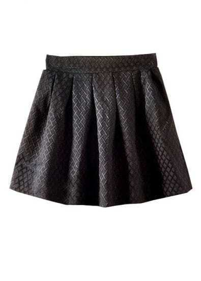 Black High Waist Houndstooth Pleated Skirt