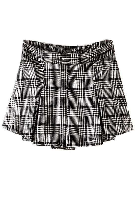 Black White Plaid High Waist Flare Skirt -SheIn(Sheinside)