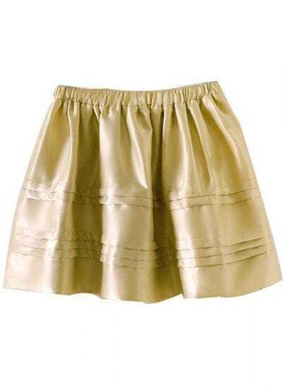 Gold Elastic Waist Cascading Pleated Flare Skirt