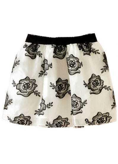 White Metallic Yoke Embroidered Flare Skirt