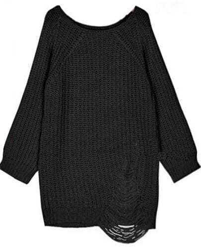 Black Reglan Sleeve Ripped Loose Sweater